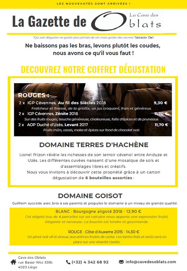 Cave des Oblats - Gazette - Nouveautés mai 2020